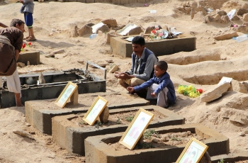 Yemeni families mourn at new cemetery built for children killed in air strike